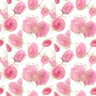 Rosa primavera y verano patrón floral sin fisuras.