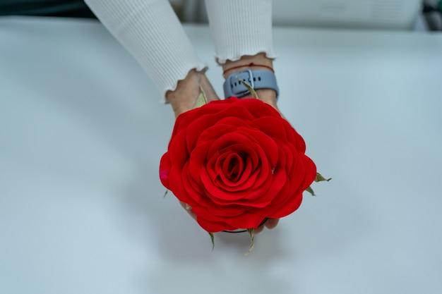 Rosa roja artificial en manos de mujeres