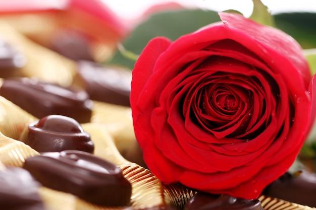 Rosa roja y dulces de chocolate