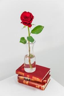 Rosa roja fresca en florero en la pila de libros