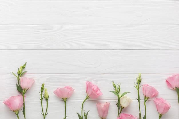 Rosas de jardín sobre un fondo de espacio de copia de madera