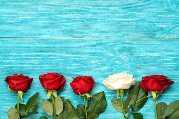 Rosas rojas y blancas en fila