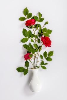 Rosas rojas y florero blanco sobre fondo blanco.