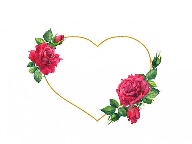 Rosas rojas con marco dorado en forma de corazón. tarjeta de acuarela
