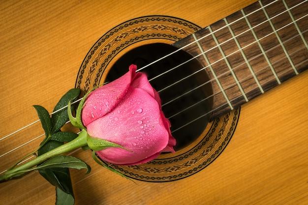 Rosas rojas románticas en guitarra, amor