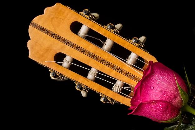 Rosas rojas románticas en guitarra