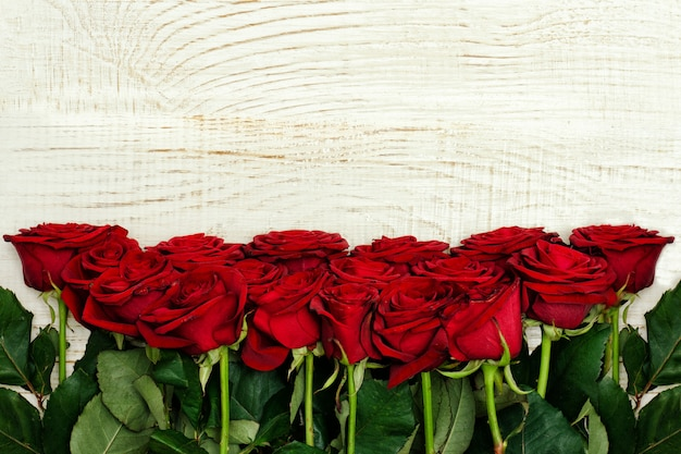 Rosas rojas sobre un fondo claro de madera, vista superior