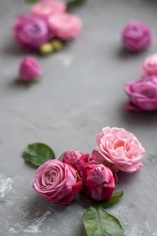 Las rosas rosadas se encuentran sobre un fondo de hormigón gris. lugar para el texto de saludo.