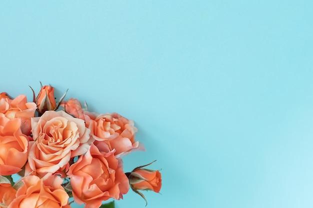 Rosas sobre un fondo azul.