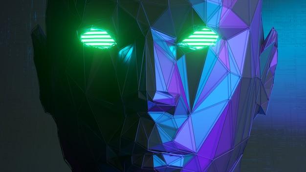 Rostro humano poligonal abstracto, concepto de inteligencia artificial. ilustración 3d