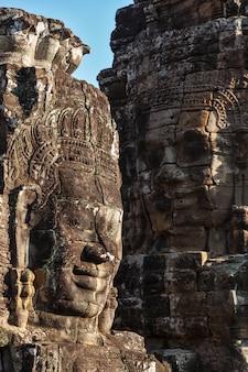 Rostros del templo de bayon, angkor, camboya