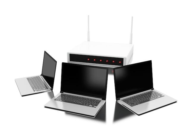 Router 3d conectado a la computadora portátil