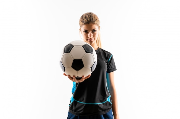 Rubia futbolista adolescente niña
