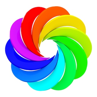Rueda de apertura de color de vórtice sobre un fondo blanco. representación 3d