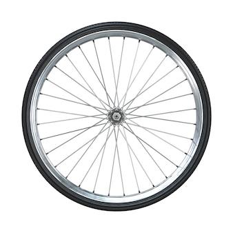 Rueda de bicicleta aislada en blanco. vista lateral. representación 3d.