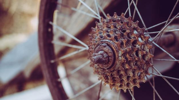 Rueda de bicicleta vintage con radios oxidados