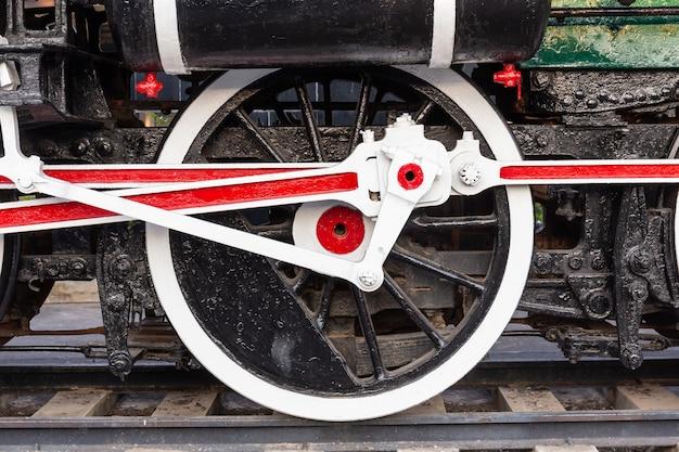Rueda de tren antiguo sobre rieles