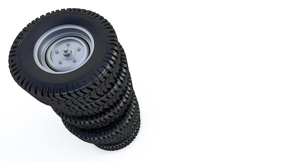 Ruedas aisladas en blanco. neumáticos de invierno. render 3d