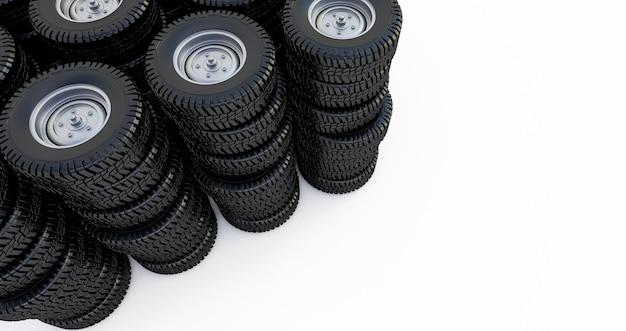Ruedas aisladas en el espacio en blanco. neumáticos de invierno. render 3d