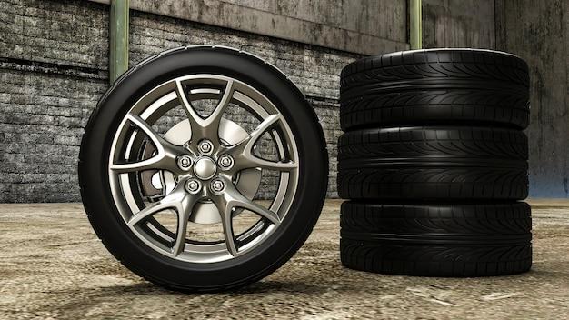 Ruedas de coche en 3d. representación 3d