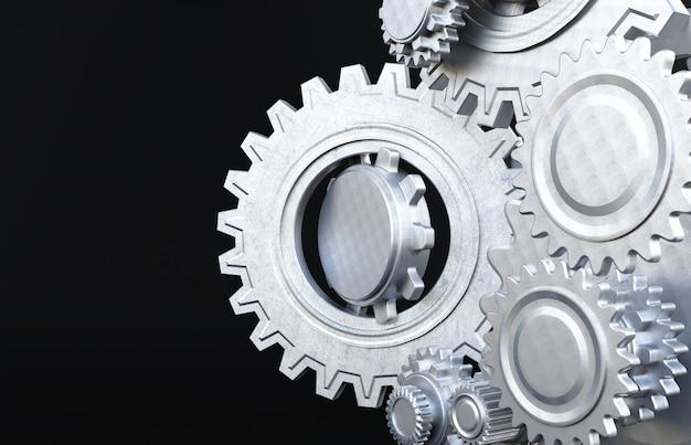 Ruedas dentadas del motor, fondo industrial. representación 3d