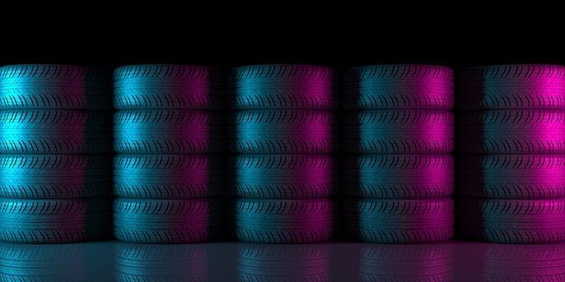 Ruedas negras sobre un fondo negro en iluminación de neón en ilustración 3d