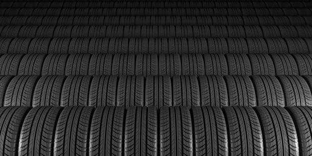 Ruedas negras sobre un fondo negro en la ilustración 3d
