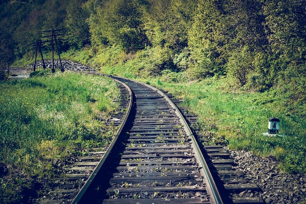 Ruta de mercancías ferroviarias en las montañas