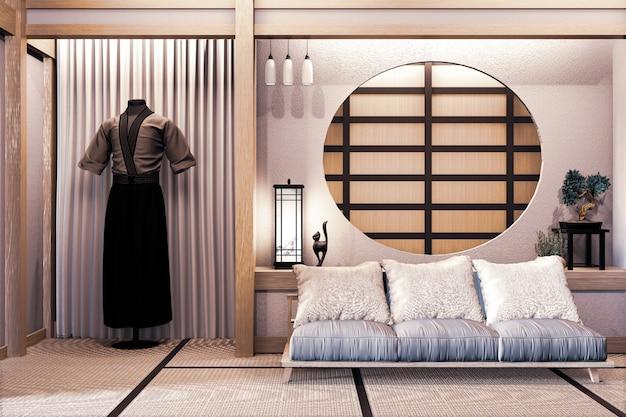 Ryokan estilo japonés en madera de la habitación muy bonito diseño. renderizado 3d