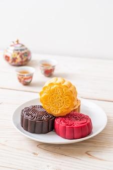 Sabor a natillas de pastel de luna chino para el festival del medio otoño