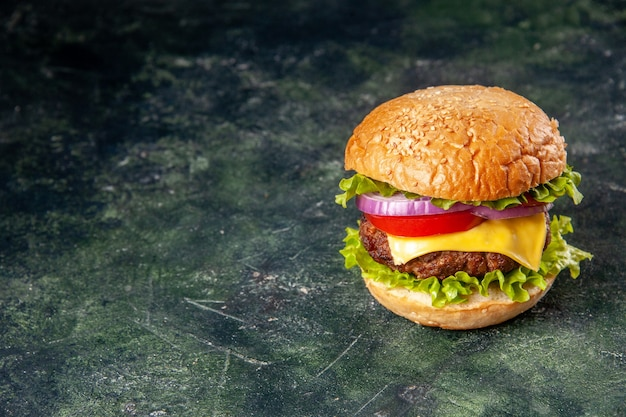 Sabroso sándwich en el lado izquierdo sobre una superficie de hielo gris con espacio libre en vista vertical