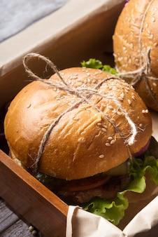 Sabroso surtido de menú de hamburguesas