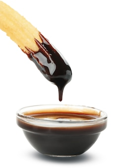 Sabrosos churros con salsa de chocolate