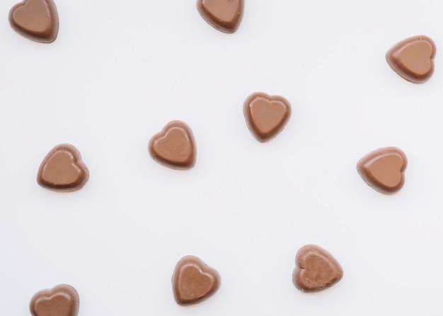 Sabrosos corazones de chocolate dulce