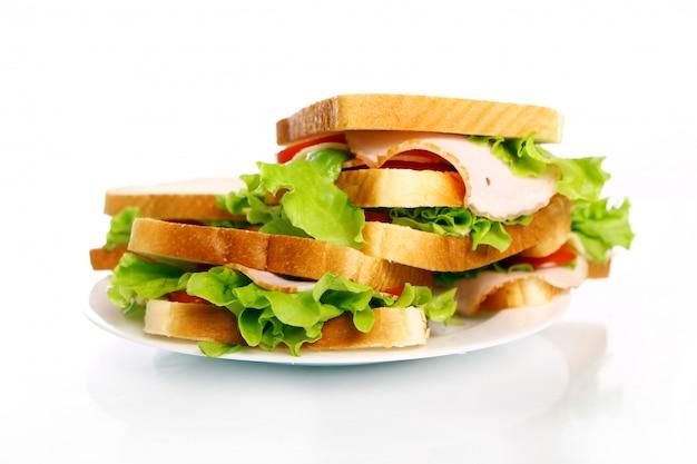 Sabrosos sandwiches en el plato