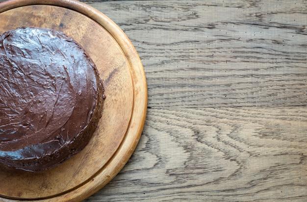 Sacher torte en el fondo de madera