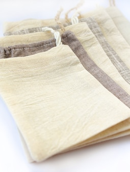 Sacos pequeños de algodón natural ecológico de lino
