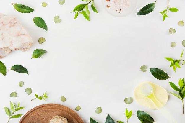 Sal de roca; cepillo; esponja y hojas sobre fondo blanco