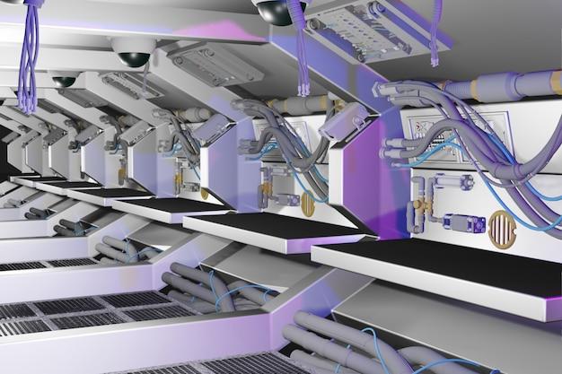 Sala 3d del futuro espacio de ciencia ficción