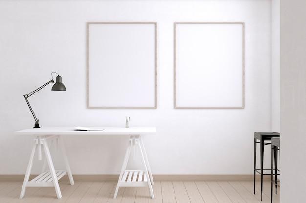 Sala de artista con mesa y lámpara