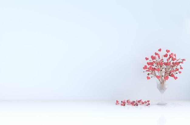 Sala blanca del amor en el día de san valentín.