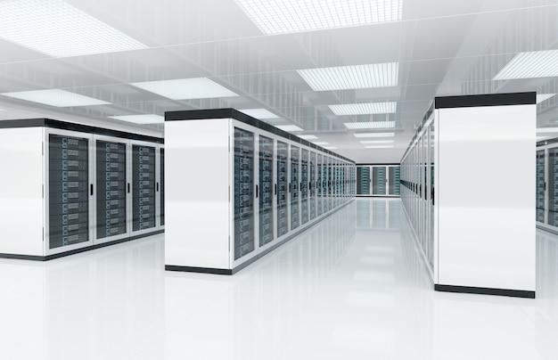 Sala blanca de servidores con computadoras y sistemas de almacenamiento representación 3d