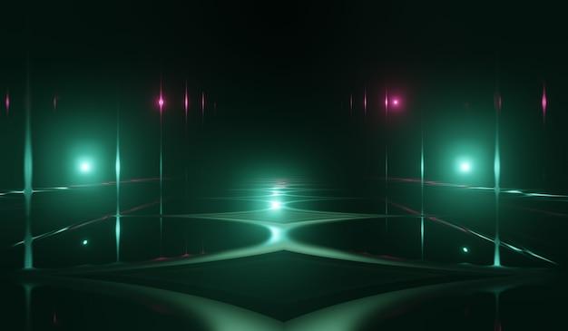 Sala de ciencia ficción abstracta 3d con fondo de luz verde. ilustración 3d.