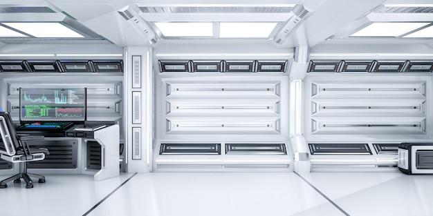 Sala de ciencia ficción futurista vacía con espacio abierto y computadora de trabajo