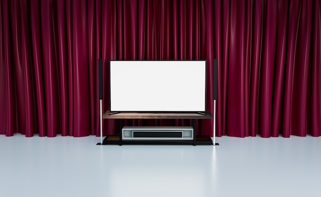 Sala de cine en casa con cortinas rojas, renderizado de ilustraciones 3d