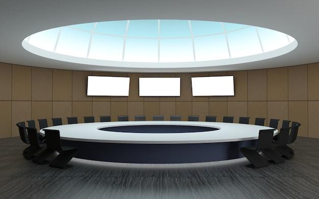 Sala de conferencias para reuniones con forma de cúpula redonda con mesa grande.