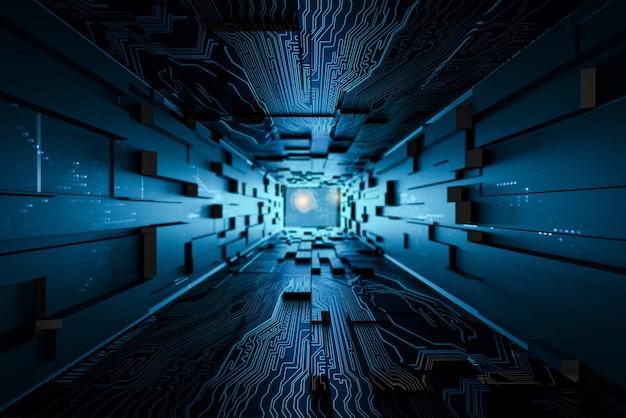 Sala de datos de conexión digital, render 3d