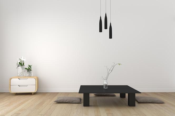 Sala de estar moderna con piso de madera y pared blanca - estilo japonés. representación 3d