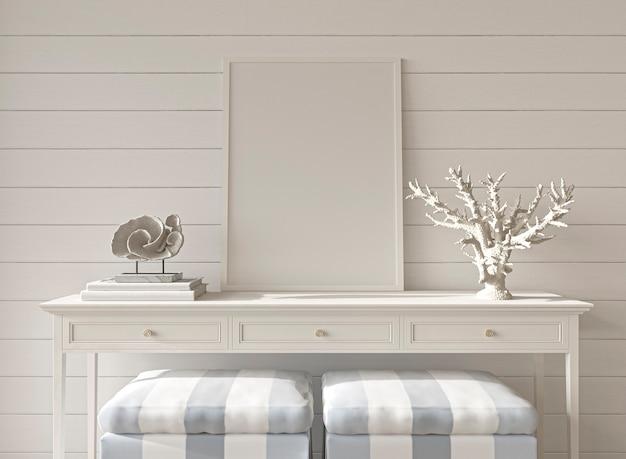 Sala de diseño costero estilo hampton con marco de maqueta en una acogedora casa interior de fondo ilustración 3d