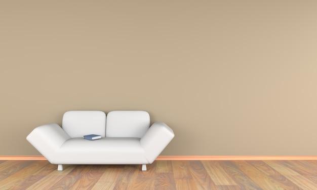 Sala de estar 3d con sofá blanco y libro